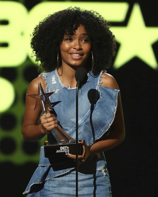 . Yara Shahidi accepts the young stars award at the BET Awards at the Microsoft Theater on Sunday, June 25, 2017, in Los Angeles. (Photo by Matt Sayles/Invision/AP)