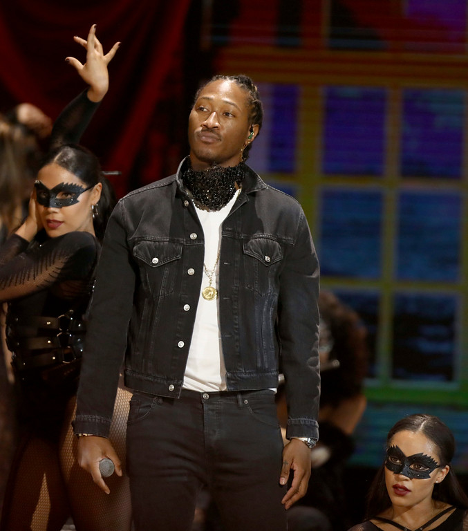 """. Future performs \""""Mask Off\"""" at the BET Awards at the Microsoft Theater on Sunday, June 25, 2017, in Los Angeles. (Photo by Matt Sayles/Invision/AP)"""