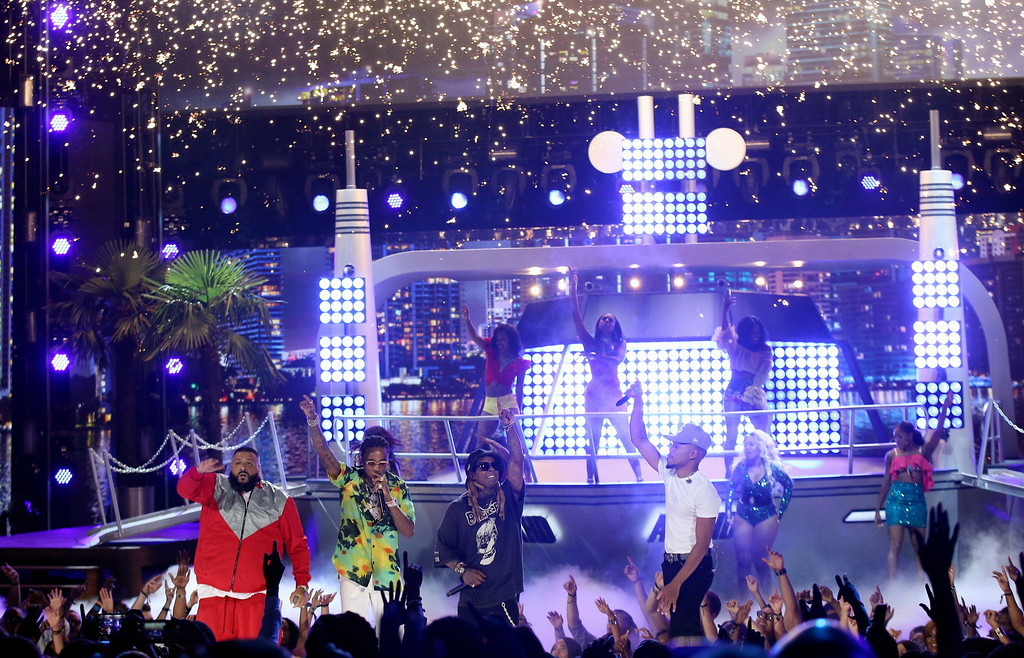 """. DJ Khaled, from left, Quavo, Lil Wayne, and Chance The Rapper perform \""""I\'m the One\"""" at the BET Awards at the Microsoft Theater on Sunday, June 25, 2017, in Los Angeles. (Photo by Matt Sayles/Invision/AP)"""