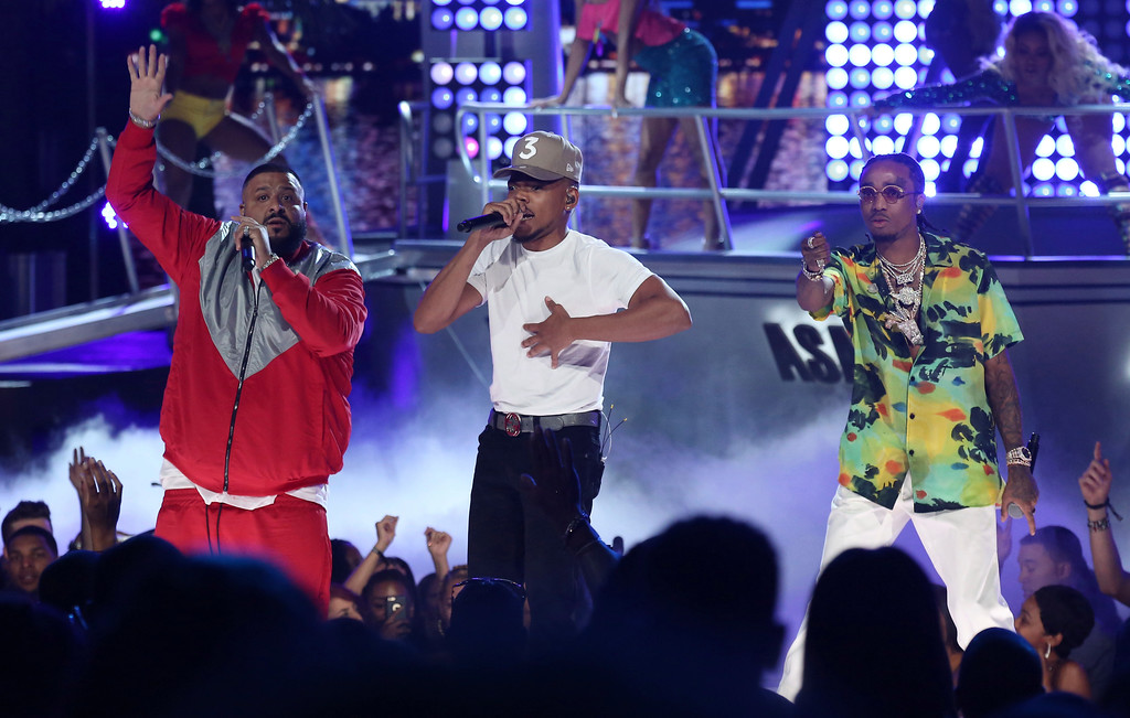 """. DJ Khaled, from left, Chance The Rapper, and Quavo perform \""""I\'m the One\"""" at the BET Awards at the Microsoft Theater on Sunday, June 25, 2017, in Los Angeles. (Photo by Matt Sayles/Invision/AP)"""