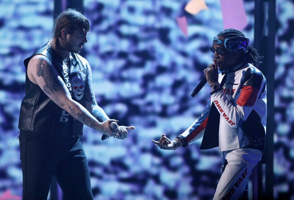 . Post Malone, left, and Quavo, of Migos, perform at the BET Awards at the Microsoft Theater on Sunday, June 25, 2017, in Los Angeles. (Photo by Matt Sayles/Invision/AP)