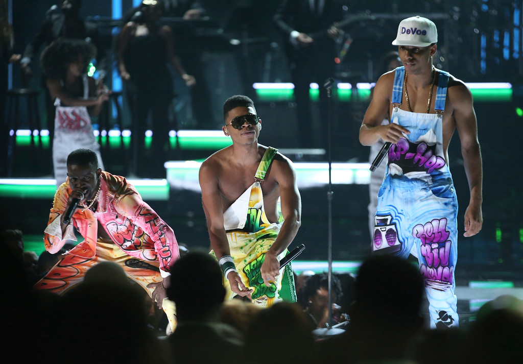 . Elijah Kelley, from left, Bryshere Y. Gray, and Keith Powers from the cast of The New Edition Story perform at the BET Awards at the Microsoft Theater on Sunday, June 25, 2017, in Los Angeles. (Photo by Matt Sayles/Invision/AP)