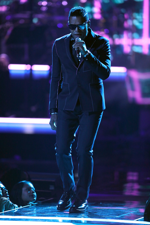 """. Maxwell performs \""""Gods\"""" at the BET Awards at the Microsoft Theater on Sunday, June 25, 2017, in Los Angeles. (Photo by Matt Sayles/Invision/AP)"""