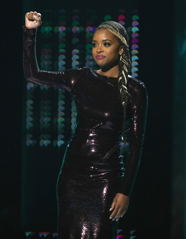 . Tamika Mallory, winner of the shine a light award, appears onstage at the BET Awards at the Microsoft Theater on Sunday, June 25, 2017, in Los Angeles. (Photo by Matt Sayles/Invision/AP)
