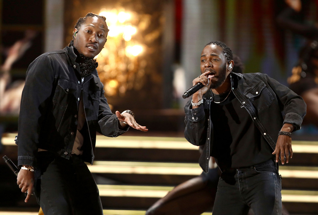 """. Future, left, and Kendrick Lamar perform \""""Mask Off\"""" at the BET Awards at the Microsoft Theater on Sunday, June 25, 2017, in Los Angeles. (Photo by Matt Sayles/Invision/AP)"""