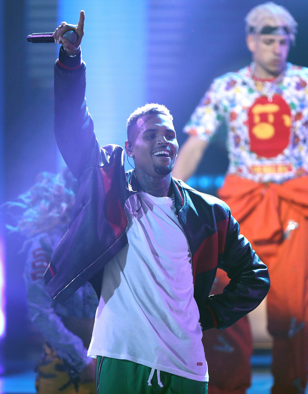 . Chris Brown performs at the BET Awards at the Microsoft Theater on Sunday, June 25, 2017, in Los Angeles. (Photo by Matt Sayles/Invision/AP)