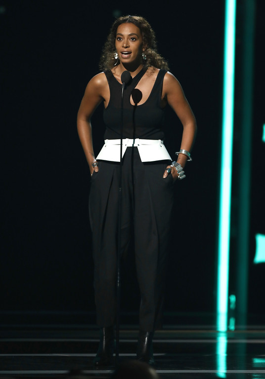 . Solange presents the shine a light award at the BET Awards at the Microsoft Theater on Sunday, June 25, 2017, in Los Angeles. (Photo by Matt Sayles/Invision/AP)