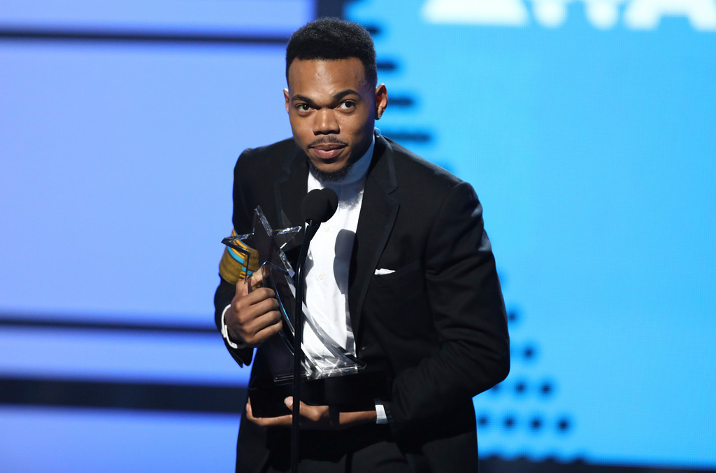 . Chance The Rapper accepts the humanitarian award at the BET Awards at the Microsoft Theater on Sunday, June 25, 2017, in Los Angeles. (Photo by Matt Sayles/Invision/AP)