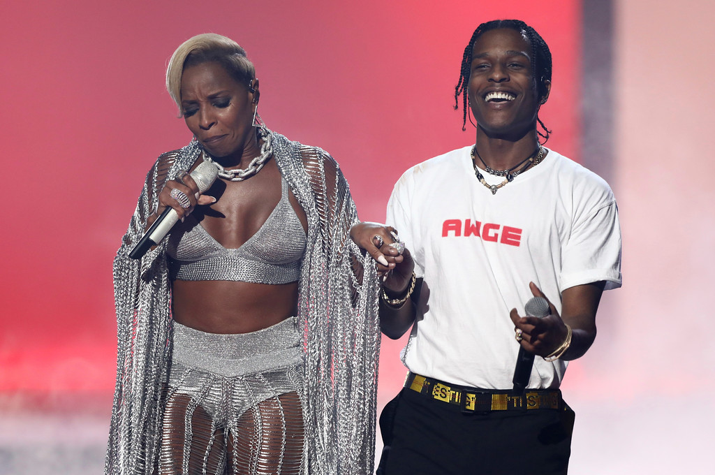 . Mary J. Blige, left, and A$AP Rocky perform at the BET Awards at the Microsoft Theater on Sunday, June 25, 2017, in Los Angeles. (Photo by Matt Sayles/Invision/AP)