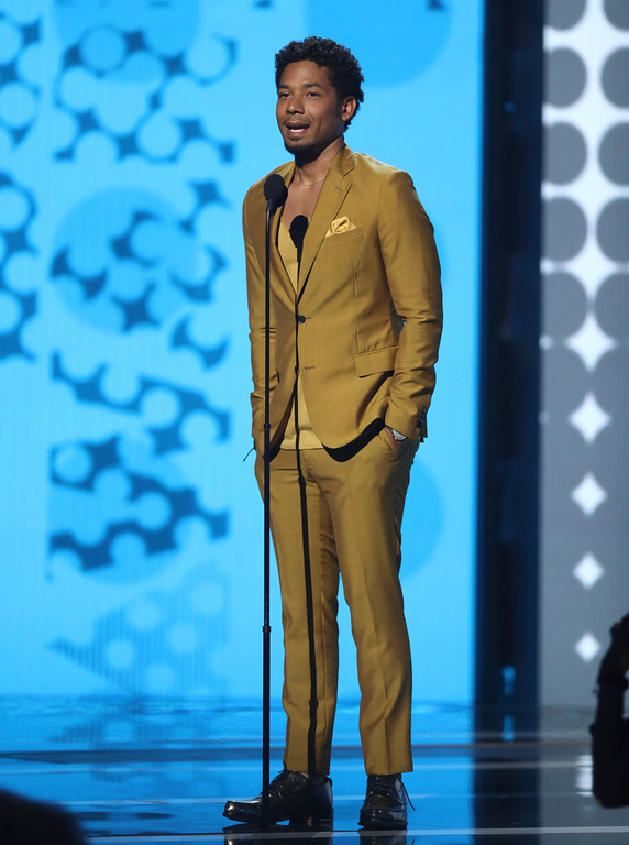 . Jussie Smollett speaks at the BET Awards at the Microsoft Theater on Sunday, June 25, 2017, in Los Angeles. (Photo by Matt Sayles/Invision/AP)
