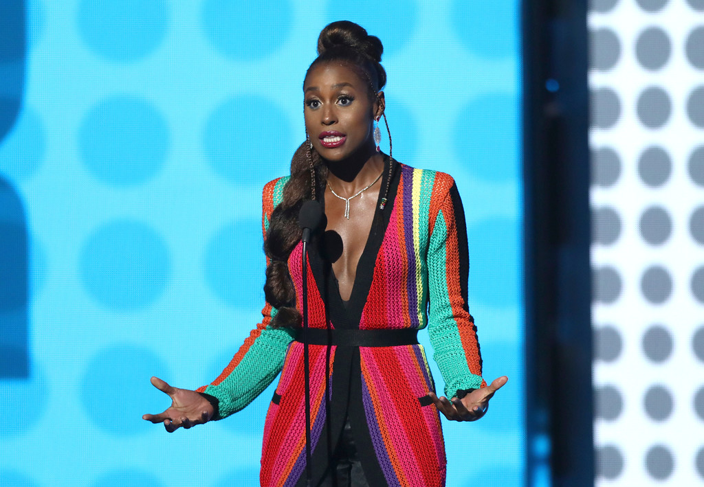 . Issa Rae speaks at the BET Awards at the Microsoft Theater on Sunday, June 25, 2017, in Los Angeles. (Photo by Matt Sayles/Invision/AP)