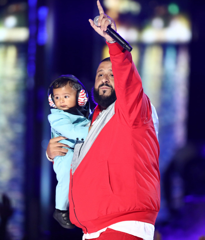""". DJ Khaled performs \""""I\'m The One\"""" while holding his son Asahd at the BET Awards at the Microsoft Theater on Sunday, June 25, 2017, in Los Angeles. (Photo by Matt Sayles/Invision/AP)"""