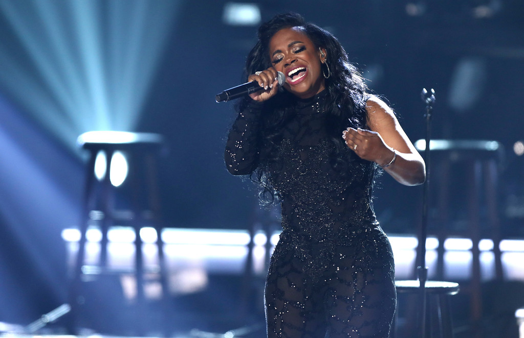 . Kandi Burruss of Xscape performs at the BET Awards at the Microsoft Theater on Sunday, June 25, 2017, in Los Angeles. (Photo by Matt Sayles/Invision/AP)