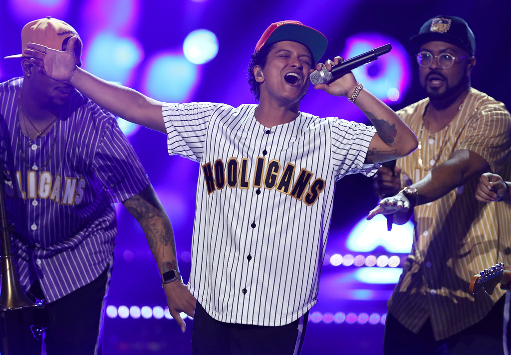 """. Bruno Mars performs \""""Perm\"""" at the BET Awards at the Microsoft Theater on Sunday, June 25, 2017, in Los Angeles. (Photo by Matt Sayles/Invision/AP)"""