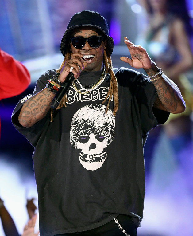 """. Lil Wayne performs \""""I\'m The One\"""" at the BET Awards at the Microsoft Theater on Sunday, June 25, 2017, in Los Angeles. (Photo by Matt Sayles/Invision/AP)"""