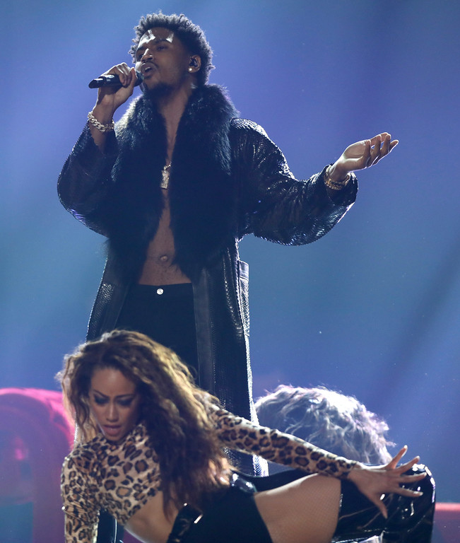 . Trey Songz performs at the BET Awards at the Microsoft Theater on Sunday, June 25, 2017, in Los Angeles. (Photo by Matt Sayles/Invision/AP)
