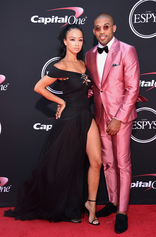 . Draya Michele, left, and NFL football player Orlando Scandrick, of the Dallas Cowboys, arrive at the ESPYS at the Microsoft Theater on Wednesday, July 12, 2017, in Los Angeles. (Photo by Jordan Strauss/Invision/AP)