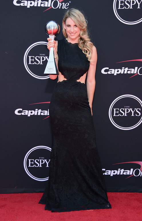 . Snowboarder Anna Gasser, winner of the award for best female action sports athlete, arrives at the ESPYS at the Microsoft Theater on Wednesday, July 12, 2017, in Los Angeles. (Photo by Jordan Strauss/Invision/AP)