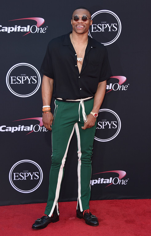 . NBA basketball player Russell Westbrook, of the Oklahoma City Thunder, arrives at the ESPYS at the Microsoft Theater on Wednesday, July 12, 2017, in Los Angeles. (Photo by Jordan Strauss/Invision/AP)