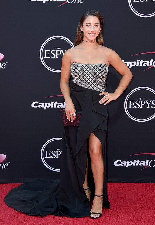 . Gymnast Aly Raisman arrives at the ESPYS at the Microsoft Theater on Wednesday, July 12, 2017, in Los Angeles. (Photo by Jordan Strauss/Invision/AP)