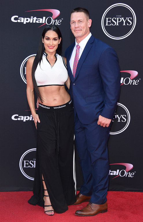 . John Cena, right, and Nikki Bella arrive at the ESPYS at the Microsoft Theater on Wednesday, July 12, 2017, in Los Angeles. (Photo by Jordan Strauss/Invision/AP)