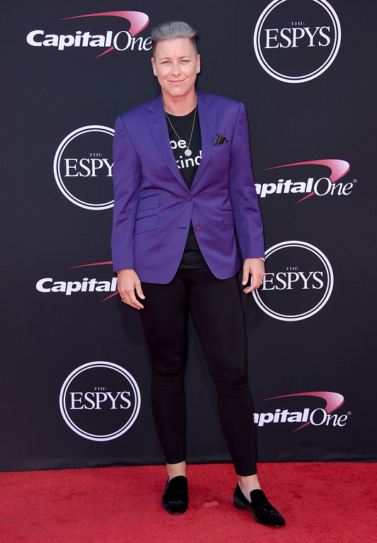 . Abby Wambach arrives at the ESPYS at the Microsoft Theater on Wednesday, July 12, 2017, in Los Angeles. (Photo by Jordan Strauss/Invision/AP)