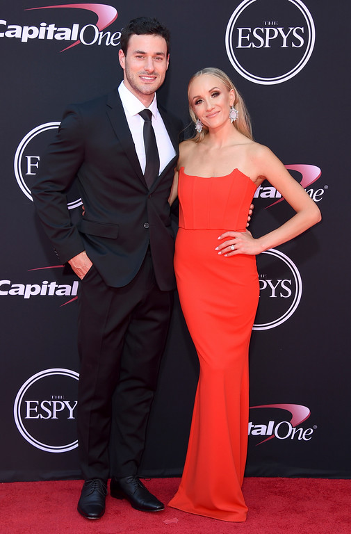 . Hockey player Matt Lombardi, left, and Nastia Liukin arrive at the ESPYS at the Microsoft Theater on Wednesday, July 12, 2017, in Los Angeles. (Photo by Jordan Strauss/Invision/AP)
