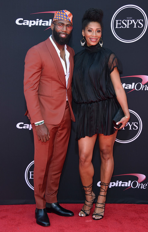 . NFL football player, Malcolm Jenkins, of the Philadelphia Eagles, left, and Morrisa Jenkins arrive at the ESPYS at the Microsoft Theater on Wednesday, July 12, 2017, in Los Angeles. (Photo by Jordan Strauss/Invision/AP)