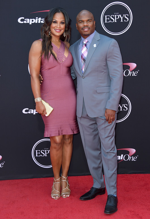 . Laila Ali, left, and Curtis Conway arrive at the ESPYS at the Microsoft Theater on Wednesday, July 12, 2017, in Los Angeles. (Photo by Jordan Strauss/Invision/AP)