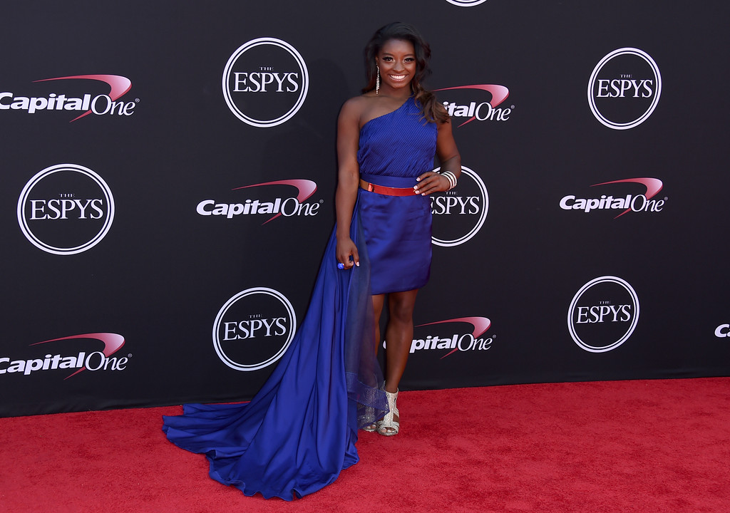 . Gymnast Simone Biles arrives at the ESPYS at the Microsoft Theater on Wednesday, July 12, 2017, in Los Angeles. (Photo by Jordan Strauss/Invision/AP)