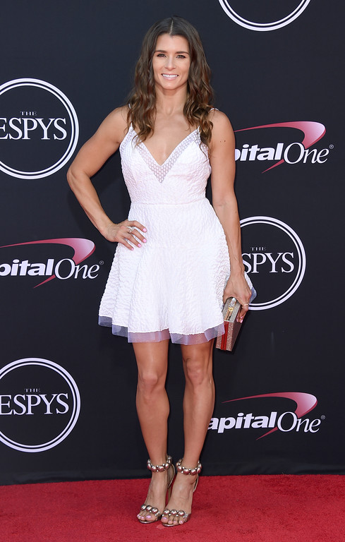 . Race car driver Danica Patrick arrives at the ESPYS at the Microsoft Theater on Wednesday, July 12, 2017, in Los Angeles. (Photo by Jordan Strauss/Invision/AP)