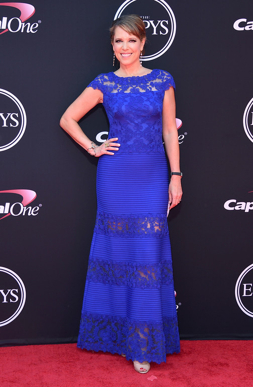 . Hannah Storm arrives at the ESPYS at the Microsoft Theater on Wednesday, July 12, 2017, in Los Angeles. (Photo by Jordan Strauss/Invision/AP)