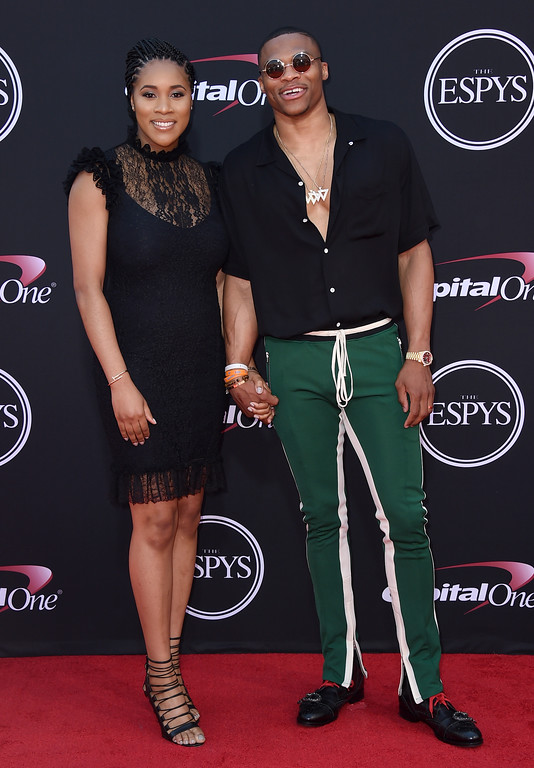 . NBA basketball player Russell Westbrook, of the Oklahoma City Thunder, right, and Nina Earl arrive at the ESPYS at the Microsoft Theater on Wednesday, July 12, 2017, in Los Angeles. (Photo by Jordan Strauss/Invision/AP)