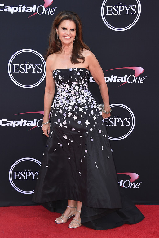 . Maria Shriver arrives at the ESPYS at the Microsoft Theater on Wednesday, July 12, 2017, in Los Angeles. (Photo by Jordan Strauss/Invision/AP)