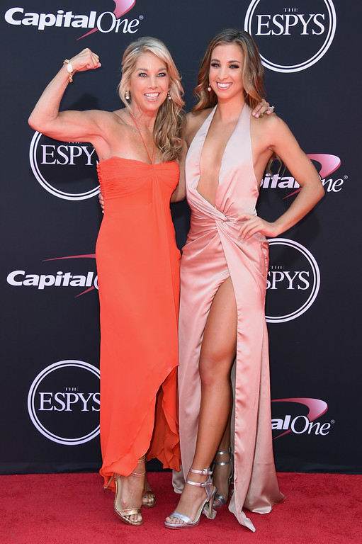 . Denise Austin, left, and Katie Austin arrive at the ESPYS at the Microsoft Theater on Wednesday, July 12, 2017, in Los Angeles. (Photo by Jordan Strauss/Invision/AP)