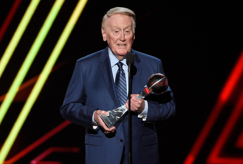 . Vin Scully accepts the Icon Award at the ESPYS at the Microsoft Theater on Wednesday, July 12, 2017, in Los Angeles. (Photo by Chris Pizzello/Invision/AP)