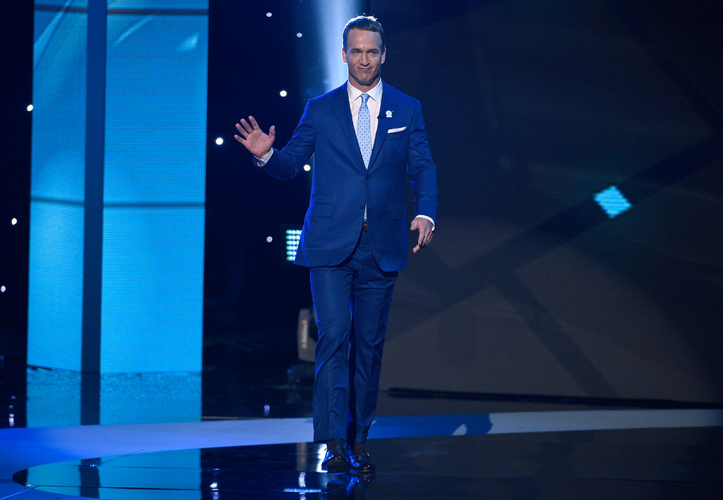 . Host Peyton Manning walks on stage at the ESPYS at the Microsoft Theater on Wednesday, July 12, 2017, in Los Angeles. (Photo by Chris Pizzello/Invision/AP)