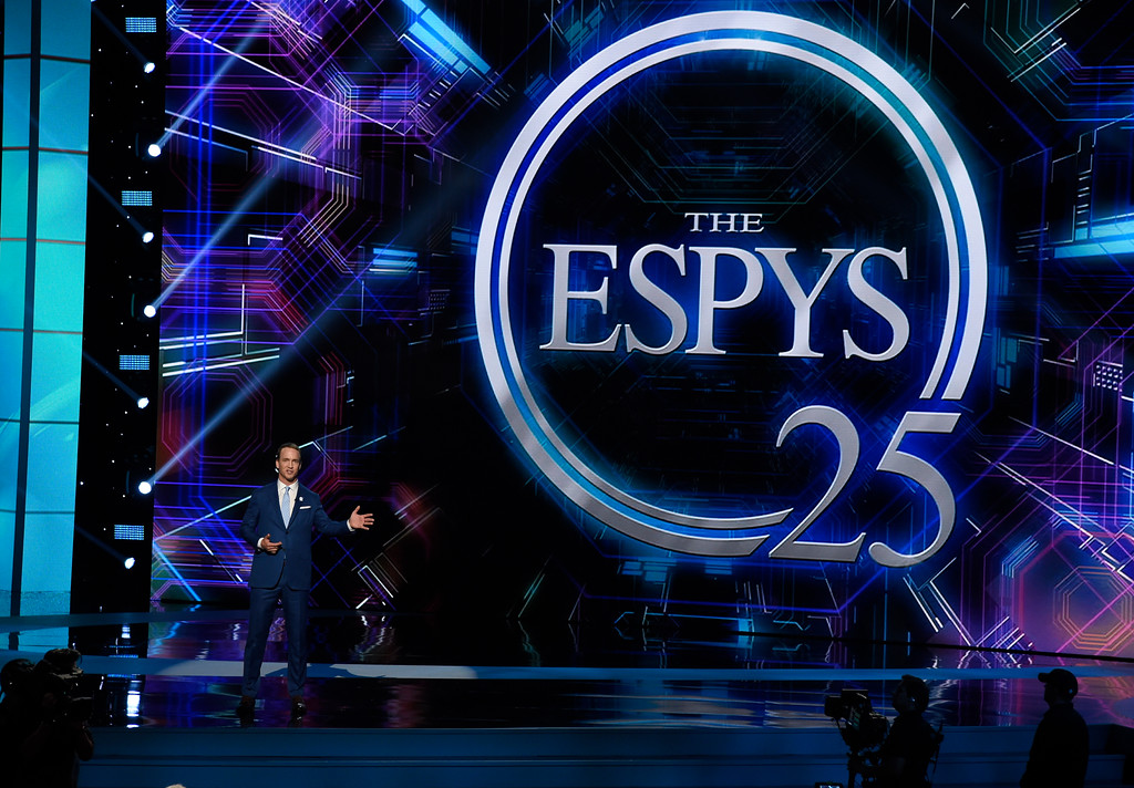 . Host Peyton Manning speaks at the ESPYS at the Microsoft Theater on Wednesday, July 12, 2017, in Los Angeles. (Photo by Chris Pizzello/Invision/AP)