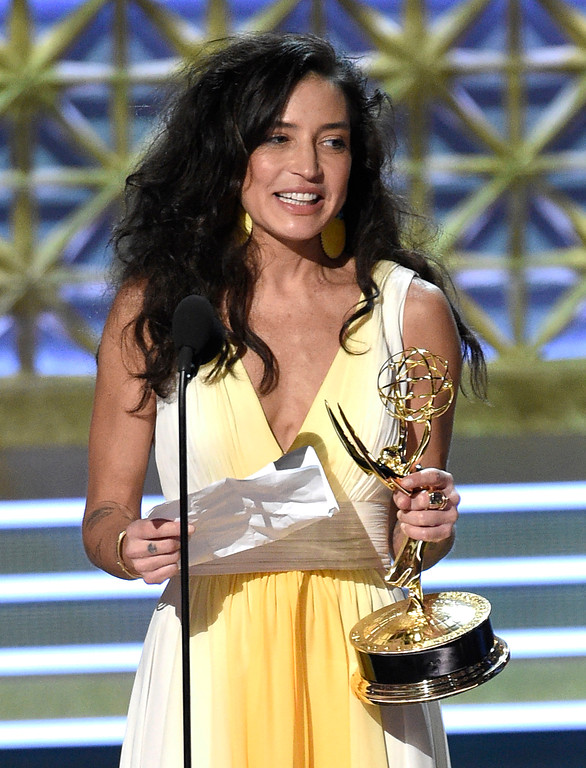 ". Reed Morano accepts the award for outstanding directing for a drama series for ""The Handmaid\'s Tale\"" episode \""Offred (Pilot)\"" at the 69th Primetime Emmy Awards on Sunday, Sept. 17, 2017, at the Microsoft Theater in Los Angeles. (Photo by Chris Pizzello/Invision/AP)"