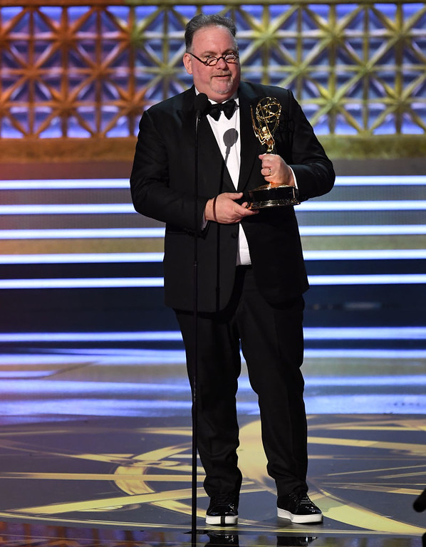 """. LOS ANGELES, CA - SEPTEMBER 17:  Director Jean-Marc Vallée accepts the Outstanding Directing for a Limited Series, Movie, or Dramatic Special award for \""""Big Little Lies\"""" onstage during the 69th Annual Primetime Emmy Awards at Microsoft Theater on September 17, 2017 in Los Angeles, California.  (Photo by Kevin Winter/Getty Images)"""