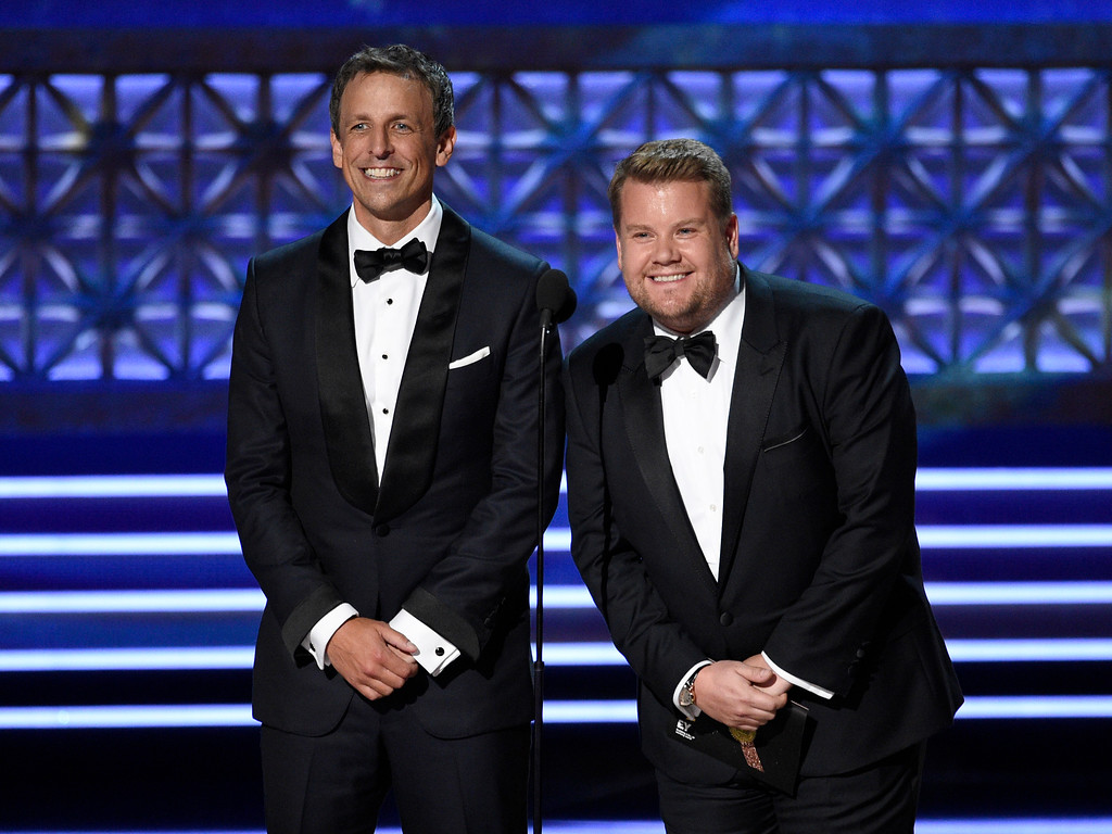 . Seth Meyers, left, and James Corden present the award for outstanding supporting actor in a comedy series at the 69th Primetime Emmy Awards on Sunday, Sept. 17, 2017, at the Microsoft Theater in Los Angeles. (Photo by Chris Pizzello/Invision/AP)