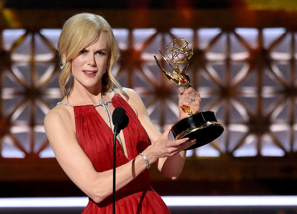 """. Nicole Kidman accepts the award for outstanding lead actress in a limited series or a movie for \""""Big Little Lies\"""" at the 69th Primetime Emmy Awards on Sunday, Sept. 17, 2017, at the Microsoft Theater in Los Angeles. (Photo by Chris Pizzello/Invision/AP)"""