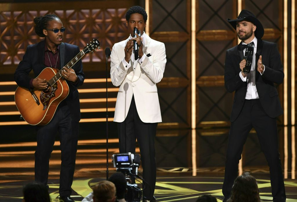. The band Stay Human performs onstage during the 69th Emmy Awards at the Microsoft Theatre on September 17, 2017 in Los Angeles, California. (FREDERIC J. BROWN/AFP/Getty Images)