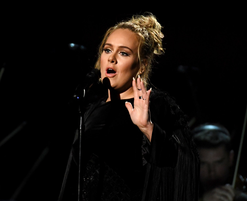 . LOS ANGELES, CA - FEBRUARY 12:  Recording artist Adele performing a tribute to George Michael onstage during The 59th GRAMMY Awards at STAPLES Center on February 12, 2017 in Los Angeles, California.  (Photo by Kevork Djansezian/Getty Images)