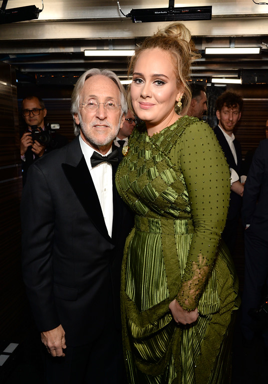 . LOS ANGELES, CA - FEBRUARY 12:  President/CEO of The Recording Academy and GRAMMY Foundation President/CEO Neil Portnow (L) and recording artist Adele pose backstage during during the The 59th GRAMMY Awards at STAPLES Center on February 12, 2017 in Los Angeles, California.  (Photo by Michael Kovac/Getty Images for NARAS)