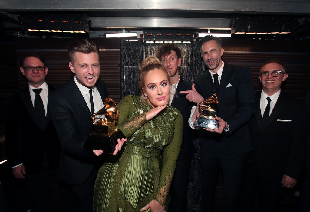 . LOS ANGELES, CA - FEBRUARY 12: (L-R) Guest, Ryan Tedder of OneRepublic, Adele, producer Ariel Rechtshaid, producer Samuel Dixon and Guest attend The 59th GRAMMY Awards at STAPLES Center on February 12, 2017 in Los Angeles, California. (Photo by Christopher Polk/Getty Images for NARAS)