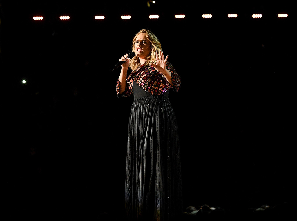 . LOS ANGELES, CA - FEBRUARY 12:  Recording artist Adele performs onstage during The 59th GRAMMY Awards at STAPLES Center on February 12, 2017 in Los Angeles, California.  (Photo by Kevork Djansezian/Getty Images)