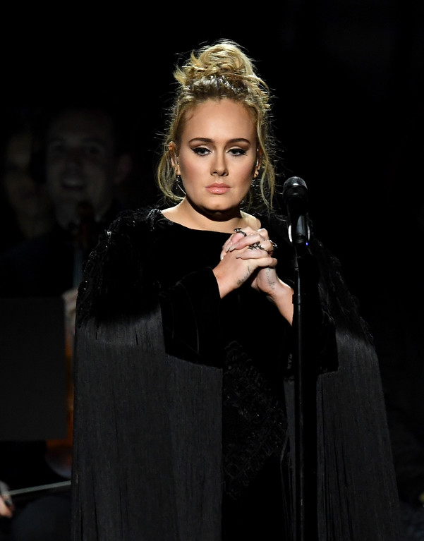 . LOS ANGELES, CA - FEBRUARY 12:  Recording artist Adele performs onstage during The 59th GRAMMY Awards at STAPLES Center on February 12, 2017 in Los Angeles, California.  (Photo by Kevin Winter/Getty Images for NARAS)