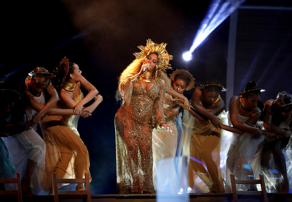 . Beyonce performs at the 59th annual Grammy Awards on Sunday, Feb. 12, 2017, in Los Angeles. (Photo by Matt Sayles/Invision/AP)