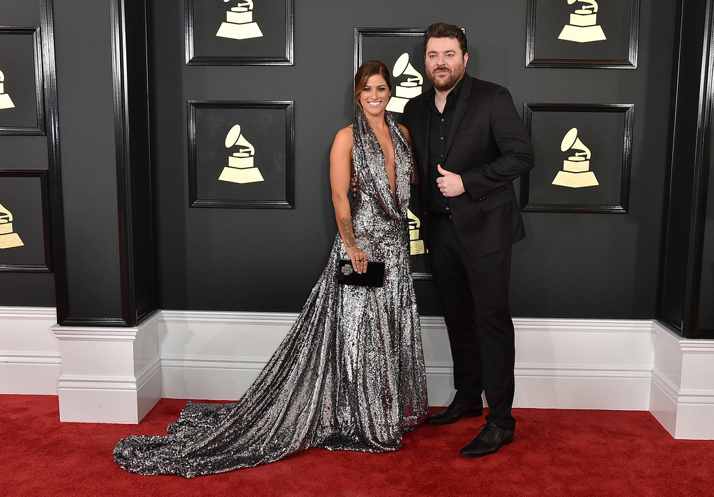. Cassadee Pope, left, and Chris Young arrive at the 59th annual Grammy Awards at the Staples Center on Sunday, Feb. 12, 2017, in Los Angeles. (Photo by Jordan Strauss/Invision/AP)
